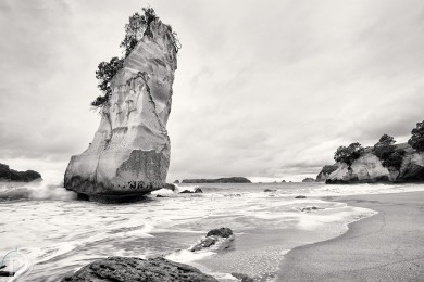 Cathedral Cove bw