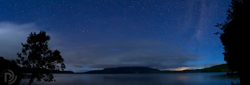 Lake Tarawera stars moonlight pano
