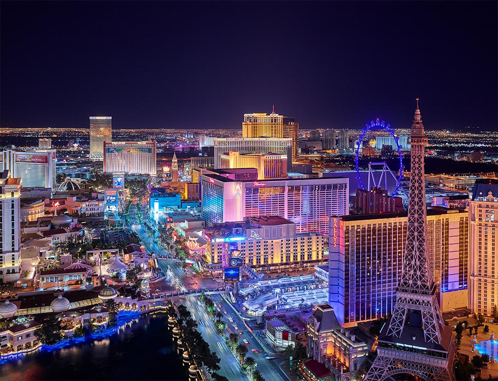 Las Vegas at night, shadows recovered