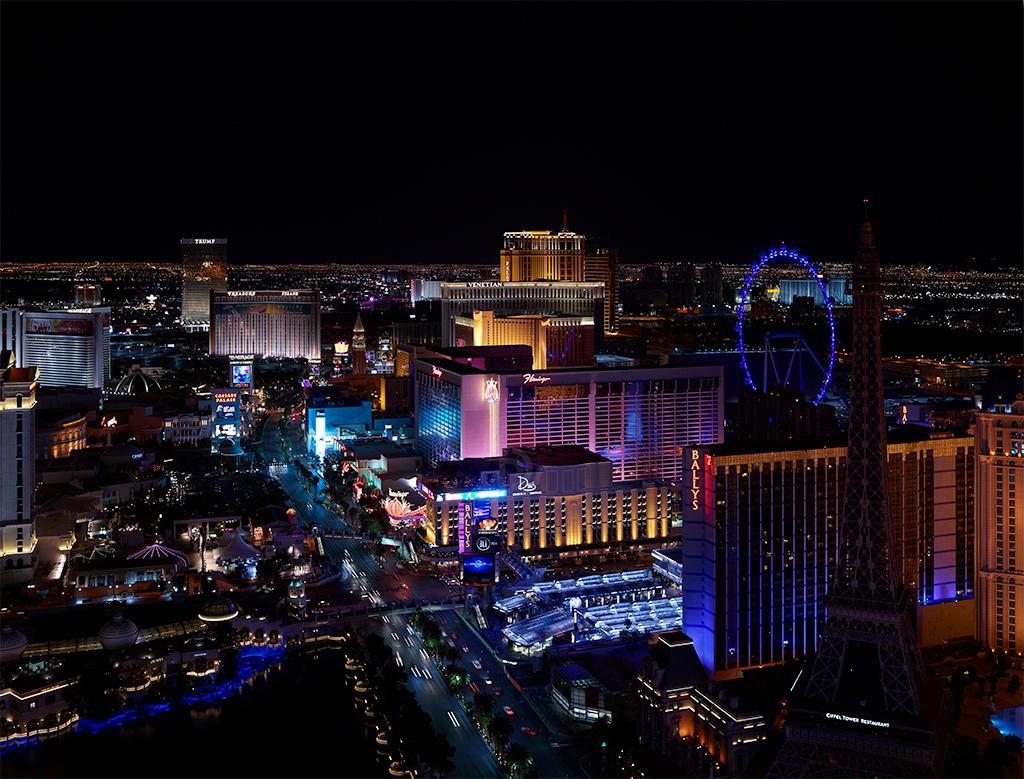 Las Vegas at night, as shot