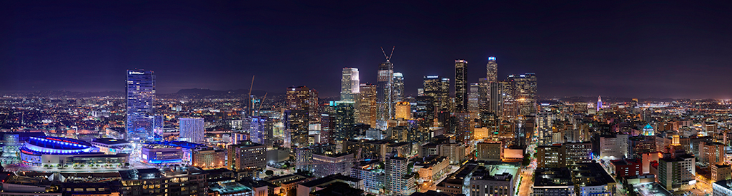 8 image stitched panoramic of DTLA