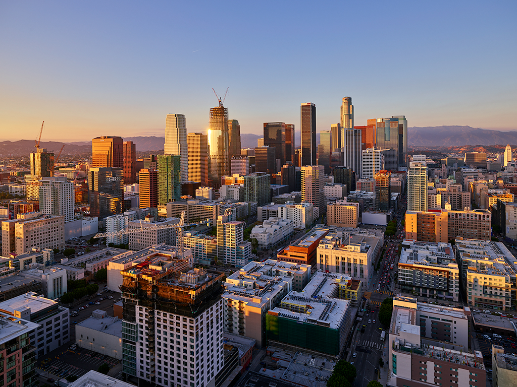 DTLA at sunset.
